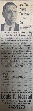 Louis F. Massad, New London, CT, Coupon Ad