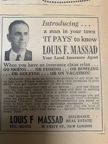 Louis F. Massad, New London, CT, Large Ad