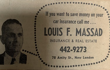 Louis F. Massad, New London, CT, Small Ad
