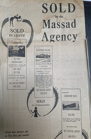 Louis F. Massad, New London, CT, Sold Ad